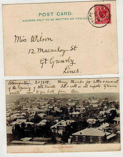 ORANGE RIVER COLONY - 1905 1d rate postcard use to UK used at TEMPE.