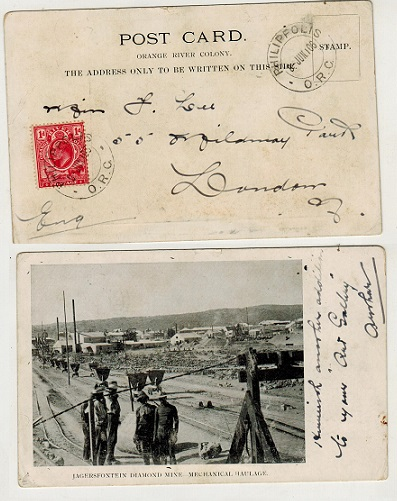 ORANGE RIVER COLONY - 1906 1d rate postcard use to UK used at PHILLIPPOLIS.