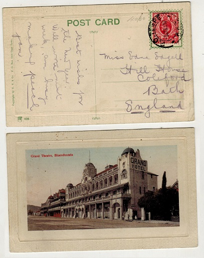 ORANGE RIVER COLONY - 1910 1d rate postcard use to UK used at P.O.TEMPE.