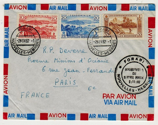 NEW HEBRIDES - 1962 first flight cover to France.