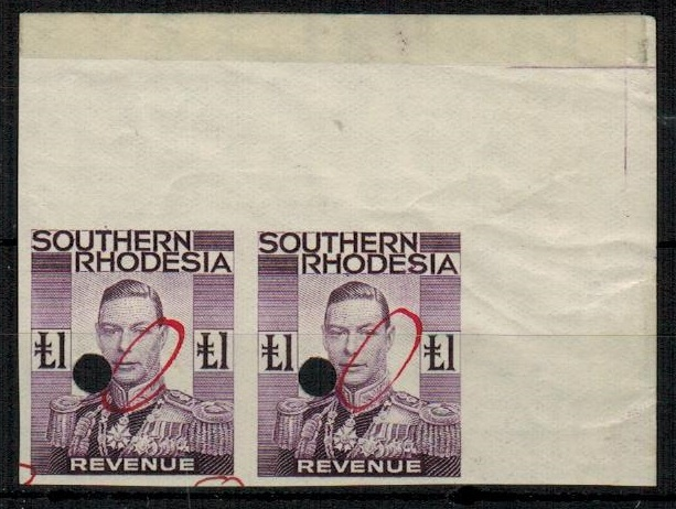 SOUTHERN RHODESIA - 1937 £1 purple REVENUE IMPERFORATE PLATE PROOF pair.