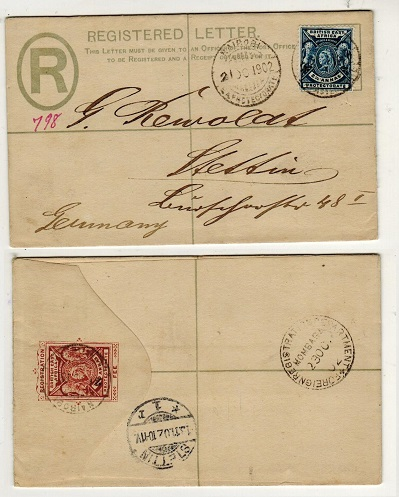 BRITISH EAST AFRICA - 1896 2a red-brown RPSE to Germany uprated at NAIROBI.  H&G 4.