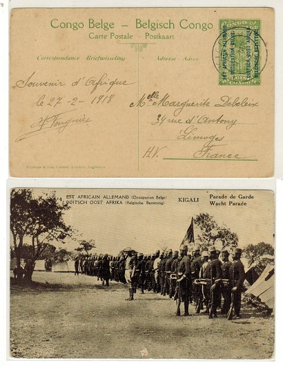 TANGANYIKA (Belgian Occupation) - 1917 5c yellow-green PSC to France used at KIGOMA.  H&G 1.