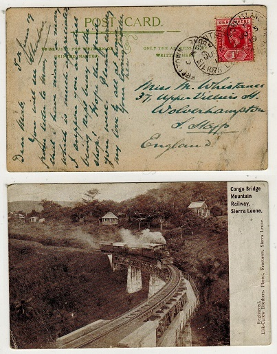 SIERRA LEONE - 1919 1d rate postcard use to UK used at YORK ISLAND.