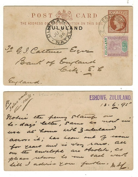 ZULULAND - 1893 1/2d red-brown uprated PSC to UK used at ESHOWE.