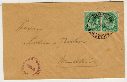 SOUTH WEST AFRICA - 1919 1d rate censored local cover used at OMARURU.