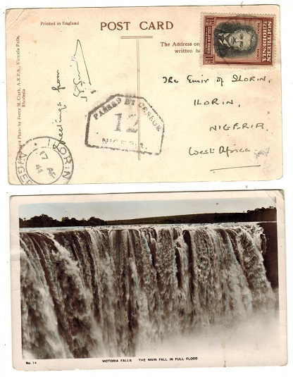 NIGERIA - 1941 inward postcard use from Southern Rhodesia with