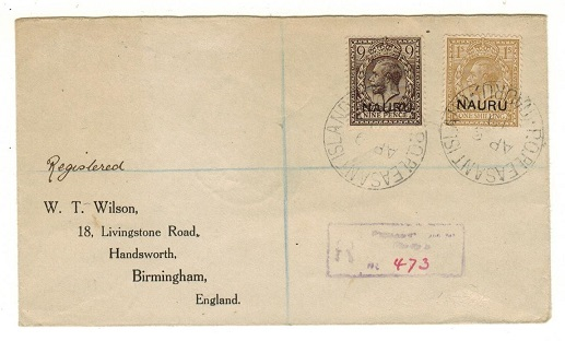 NAURU - 1919 9d+1/- adhesives on registered cover to UK used at PLEASANT ISLAND/NAURU.