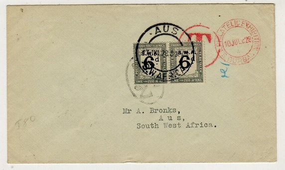 SOUTH WEST AFRICA - 1928 unstamped PHILATELIC EXHIBITION cover with 6d