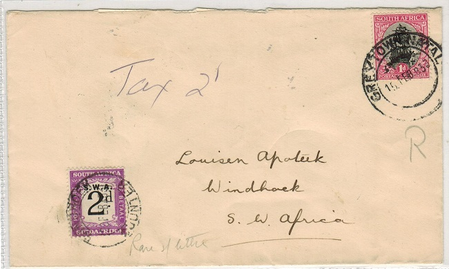 SOUTH WEST AFRICA - 1933 inward under paid cover from South Africa with 2d