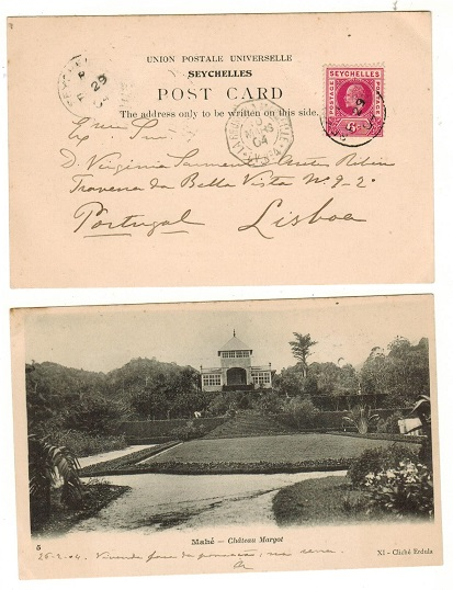 SEYCHELLES - 1904 6c rate postcard use to Portugal with French maritime h/s.