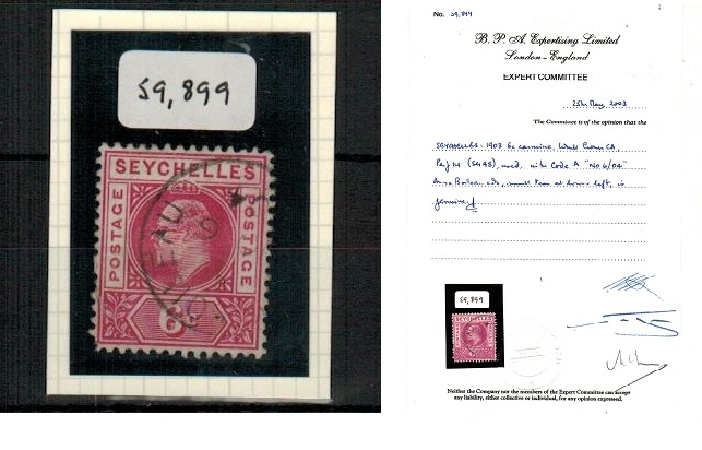 SEYCHELLES - 1903 6c carmine (SG 48) cancelled by rare ANSE BOILEAU cds with BPA certificate.