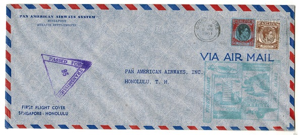 SINGAPORE - 1941 censored first flight cover to Honolulu.