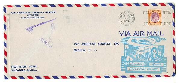 SINGAPORE - 1941 censored first flight cover to Manila.
