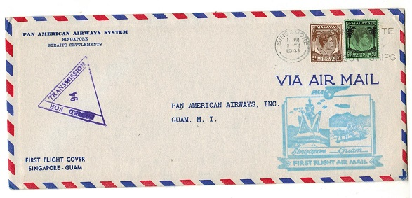 SINGAPORE - 1941 censored first flight cover to Guam.