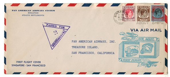 SINGAPORE - 1941 censored first flight cover to USA.