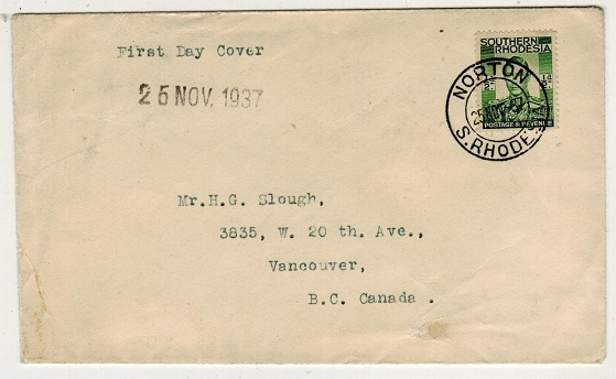 SOUTHERN RHODESIA - 1937 1/2d first day cover use to Canada from NORTON at