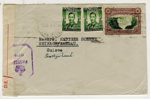 SOUTHERN RHODESIA - 1943 3d rate censored cover to Switzerland.