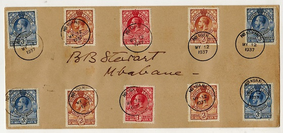 SWAZILAND - 1937 multi-franked local cover showing the rare MBABANE
