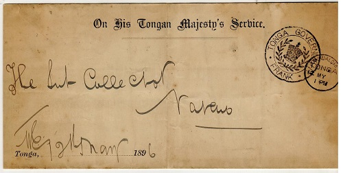 TONGA - 1896 O.H.T.M.S. unstamped local cover struck by