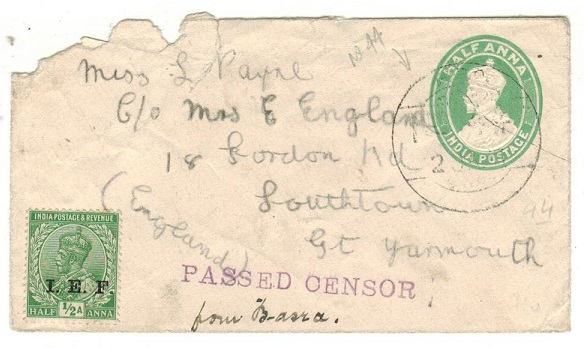 IRAQ - 1915 use of Indian 1/2a PSE censored to UK from FPO/No.44.