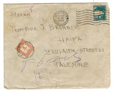 PALESTINE - 1939 underpaid local cover with 6m