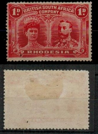 RHODESIA - 1910 1d rose red