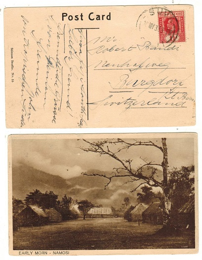 FIJI - 1933  1 1/2d rate picture postcard use to Switzerland.