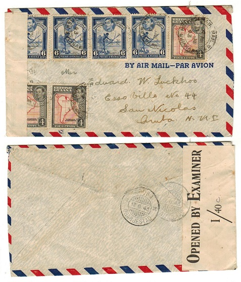 BRITISH GUIANA - 1943 censor cover addressed to Aruba in Danish West Indies.