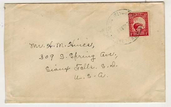 PITCAIRN ISLAND - 1938 1d rate cover to USA used at PITCAIRN ISLAND/NZ POSTAL AGENCY.