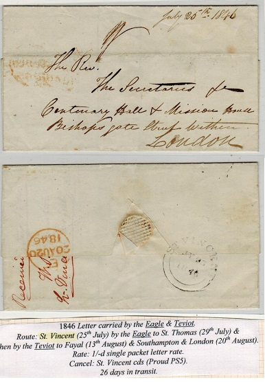 ST.VINCENT - 1845 stampless outer wrapper to UK with ST.VINCENT double arc b/s.