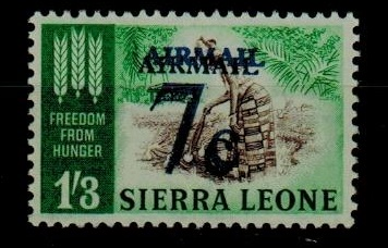 SIERRA LEONE - 1964 7c on 1/3d U/M with DOUBLE OVERPRINT variety.  SG 322b.