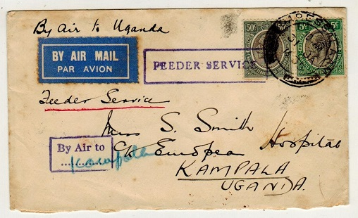 TANGANYIKA - 1935 55c rate cover to Uganda with FEEDER SERVICE h/s and BY AIR TO/.. strike.