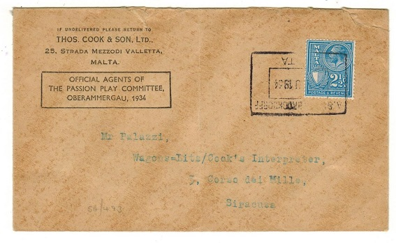 MALTA - 1934 2 1/2d rate local cover cancelled by