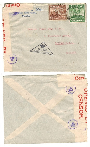 MALTA - 1940 1 1/2d rate censor cover to UK.