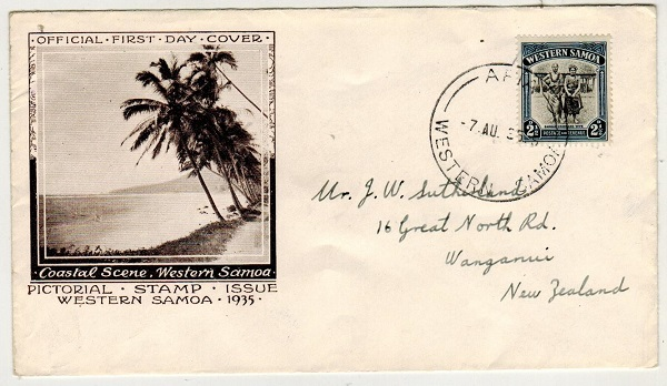 1935 (AU.7.) illustrated first day cover addressed to New Zealand bearing 2 1/2d