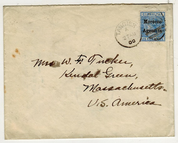MOROCCO AGENCIES - 1900 25c rate cover to USA used at TANGIER.