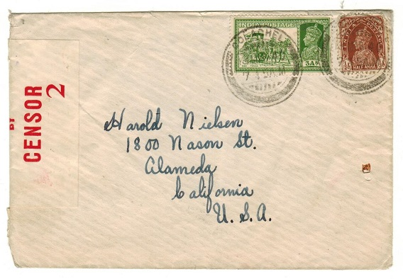 INDIA - 1940 3 1/2a rate censored cover to USA used at COLACHEL.