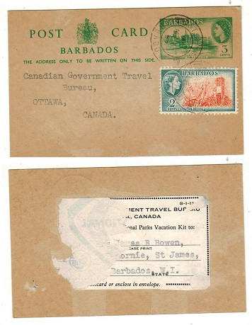 BARBADOS - 1959 3c green PSC uprated to Canada and used at ST.LAWRENCE. H&G 16.