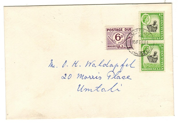 RHODESIA AND NYASALAND - 1964 local cover with 1/2d (x2) and 6d