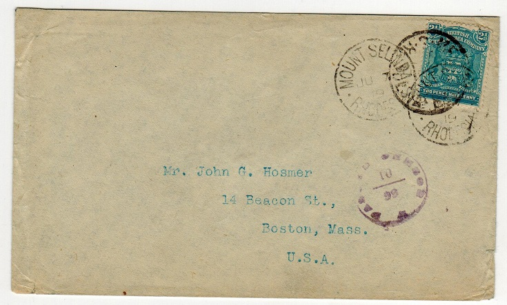 RHODESIA - 1919 2 1/2d censored cover to USA used at MELSETTER.