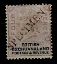 BECHUANALAND - 1887 4d lilac and black mint handstamped SPECIMEN.