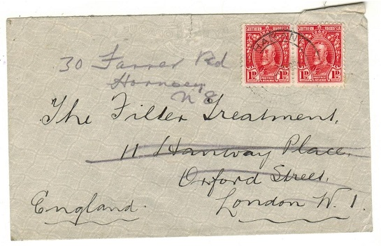 SOUTHERN RHODESIA - 1931 2d rate cover to UK used at SHABANI.