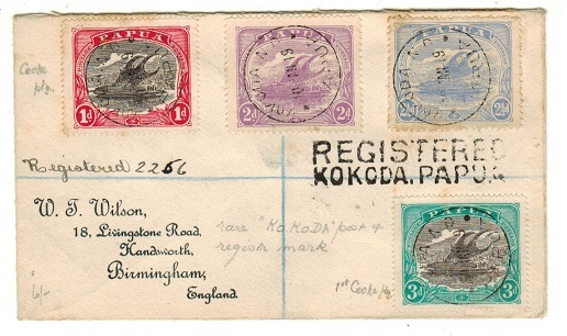 PAPUA - 1919 registered cover to UK used at KOKODA.
