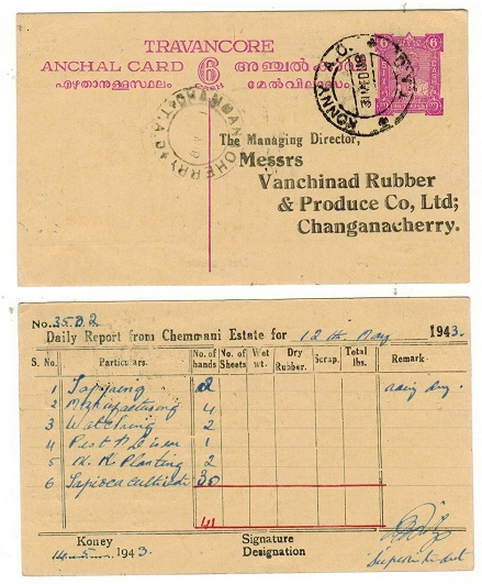 INDIA (Travancore) - 1941 6c bright purple PSC used at KONNY A.O./TAD. H&G 25.