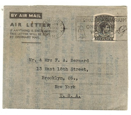 BERMUDA - 1945 6d black grey postal stationery air letter used to USA.  H&G 1.