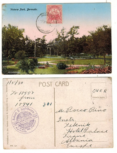 BERMUDA - 1929 1d rate postcard use to Albania used at PAGET WEST.