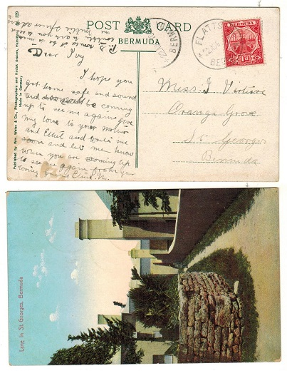 BERMUDA - 1910 1d rate postcard used locally from FLATTS.
