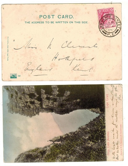 CAPE OF GOOD HOPE - 1905 1d rate postcard to UK used at LAWRENCE STREET/P.E.
