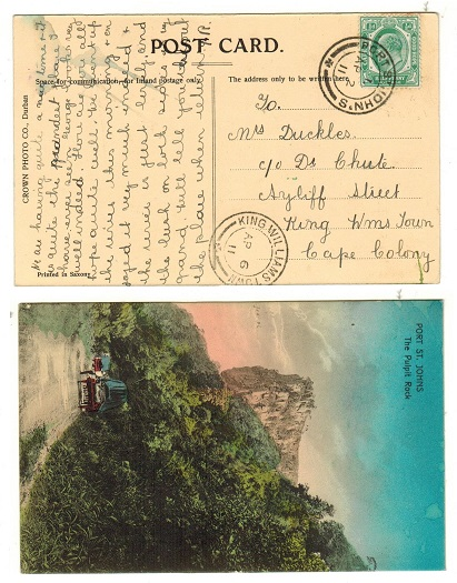 CAPE OF GOOD HOPE - 1911 1/2d rate local postcard used at PORT ST.JOHN
